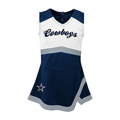 Dallas Cowboys NFL Girls Toddler Cheer Captain Cheerleader Jumper Dress, Navy/White, 3T