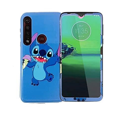 Generic Funda de diseño Stitch con Mica de Cristal para Celular Moto G8 Plus Hermoso Case de Mujer con Mica Protectora