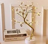 Lámpara de Rama de árbol de Cadena de Cobre Estrellado con batería LED o Suministro USB Luz de Noche de Alambre cálido con Interruptor táctil para la decoración de la habitación del hogar