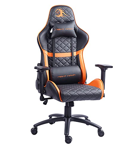 Night Hawk Gaming Office Chair with High Back Adjustable Arms Height Length Executive Revolving Lumbar and Neck Pillow Support Desk Chair (Black & Orange/NHC-302)