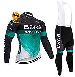 ADKE Due Completo Abbigliamento Ciclismo da Uomo, Invernale Tuta Maglia Ciclismo Maniche Lunga + Pantaloni Lunghi da Bicicletta con Gel Pad 5D