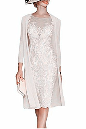 Snow Lotus 2-teiliges Damen-Brautkleid. Gr. 42, beige