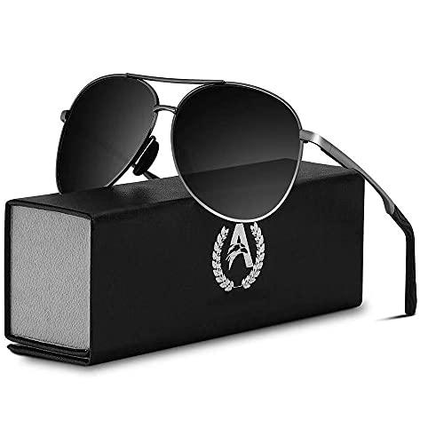 VVA Sonnenbrille Herren Pilotenbrille Polarisiert Pilotenbrille Polarisierte Sonnenbrille Herren Pilot Unisex UV400 Schutz durch V101(2 Schwarz/Asche)