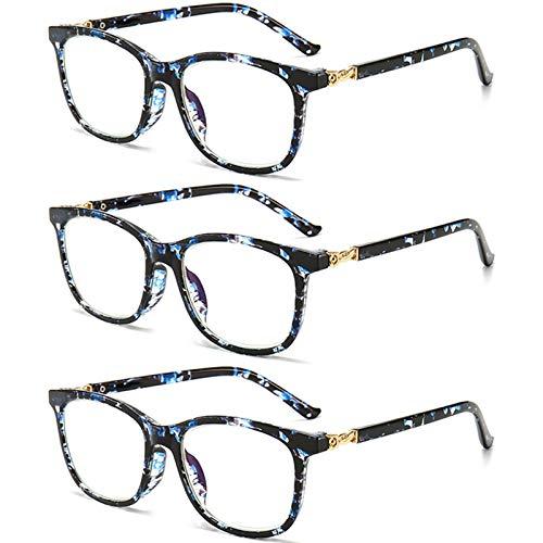 Gafas De Lectura, Clásico Marco Grande Antirreflejos UV para Los Ojos Gafas Luz Azul Bisagra Comfort Spring Lente AC Anti-Azul Gafas para Ordenador para Hombres Mujeres Unisexo,C,+ 4.00 X