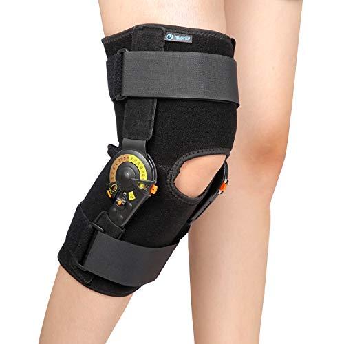 Nvorliy Hinged ROM Knee Brace Adjustable Knee Immobilizer Support for Arthritis, ACL, PCL, Meniscus Tear, Osteoarthritis, Post OP Recovery - Leg Stabilizer for Men & Women (Regular)