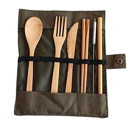 GLYYJP 和風竹制食器ナイフ、フォーク、スプーン 、ストロー、 箸 ストローブラシ 布製バッグ セット クリエイティブ 超軽量 携帯便利 お弁当 竹製 食器セット アウトドア ポータブル カトラリーバッグカトラリー