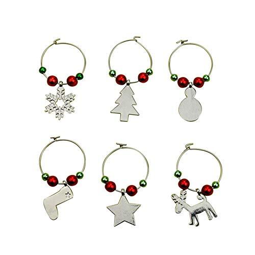 UEB 6pcs Marcatori Bicchieri Anelli Segnabicchieri Natale in Metallo con Pendenti Decorazione per Bicchiere da Vino (Argento)