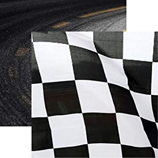 Racing Checkered Flag 12x12 Scrapbook Paper by Reminisce - 5 Sheets