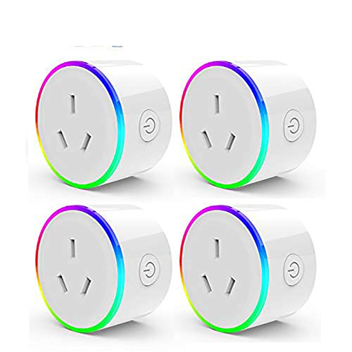 HomePro WIFI Smart Plug with RGB Light, Wireless Power Outlet Compatible with Amazon Alexa, Google Home Assistant and IFTTT, No Hub Needed, Wireless and Remote Control via App to Turn Your Devices On and Off Anywhere With Synchronization Function (2 Pack)