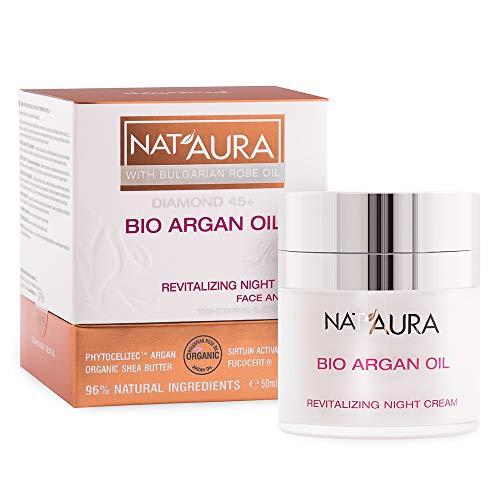 BioFresh NatAura Crème de nuit 45+ à l'huile de rose bio et à l'huile d'argan organique – Produit naturel 50 ml