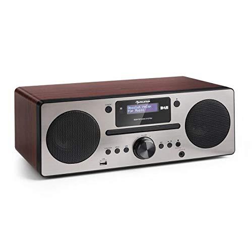 AUNA Harvard - Mini Stereo Compatto, Radio Digitale, Sintonizzatore DAB DAB+ FM, Stazioni Memorizzabili, Display LCD, Bluetooth, Telecomando, Lettore CD, USB, Funzione Sveglia, Noce