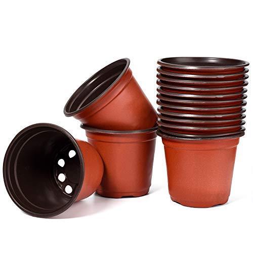 Delxo 4 Inch Plants Nursery Pots 100pack Reusable Plant Seeding Nursery Pot Waterproof Plastic Pots Seed Starting Pots