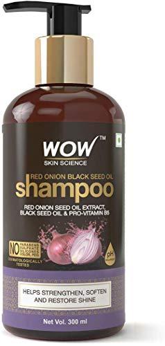 Glamorous Hub WOW Skin Science Champú de aceite de semilla de cebolla roja y negro de semilla negra y provitamina B5 Sin parabenos Sulfatos Siliconas Color y PEG 300 ml (el embalaje puede variar)