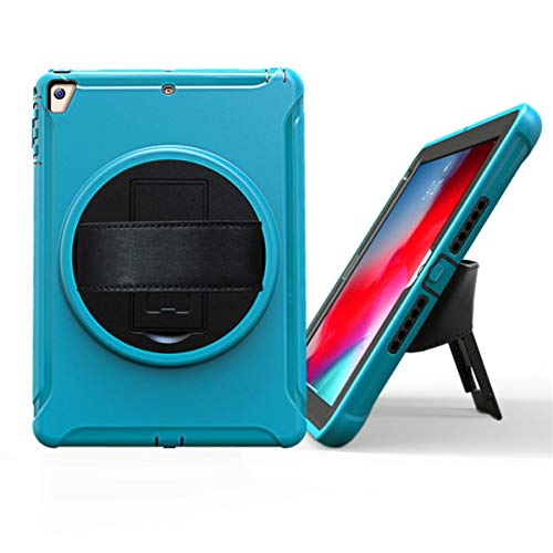 Case for iPad 6th Gen Kid Safe Shockproof Heavy Hard Cover for iPad 9.7 2017/2018 Air 1 2/ipad pro 9.7 Rotating Hand Strap+Glass,Sky Blue