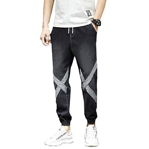 Stretch Jeans versin Coreana de los Hombres de la Tendencia de Pantalones harn Holgados de Verano Overoles Finos explosin de Nueve Puntos