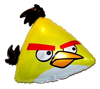 Fantastic Floatables ANGRY BIRDS Yellow 23 inch STRINGLESS FLYING PET Balloon ANTI-GRAVITY TOY HOVERS and FLOATS in MID-AIR - Includes Height Control Weights