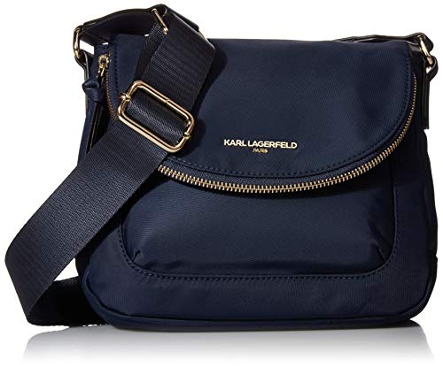 Karl Lagerfeld Paris Damen Flap Cara Crossbody-Tasche mit Klappverschluss, Nylon, Navy, Einheitsgröße