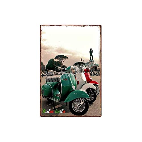 muzi928 Blechschild Metallplakat Vespa Retro Zinn Zeichen Auto Motorräder Metall Kunst Poster Bar Pub Garage Wanddekoration Moto Clube Faro Vintage Wohnkultur 20x30cm L.