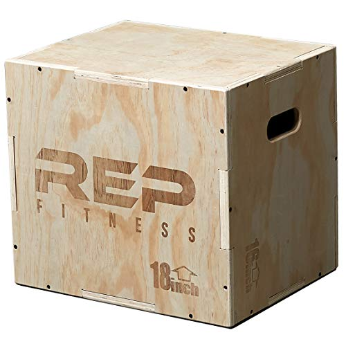 Rep 3 in 1 Wood Plyometric Box for Jump Training and Conditioning 20/18/16