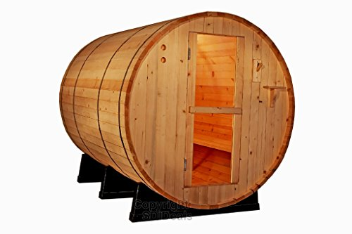 6' Ft Canadian Outdoor RED Cedar Barrel Sauna Wet/Dry SPA 4 Person Size