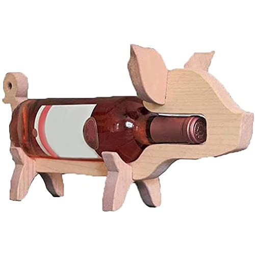 Bozaap Estante de Madera para Vino, Soporte para Botella de Vino con Forma de Perro Cerdo, Estante de exhibición de Animales, Organizador de decoración de encimera, Amantes del Vino