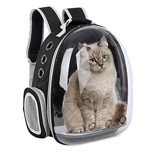 ZIGJOY Mochila portadora para Gatos, Mochila Transpirable Transparente para Cachorros y Gatos, Caja para Gatos, Jaula para Perros pequeños, Bolsa de Viaje para Mascotas, Bolsa Espacial (Negro)