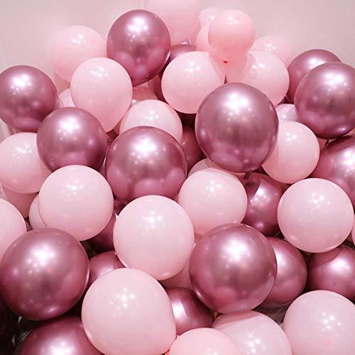 SELLA Rosa Latexballon Gold Silber Chrom Metallic Hochzeit Brautdusche Thema Luft Helium Dekor Ballons Party, 2