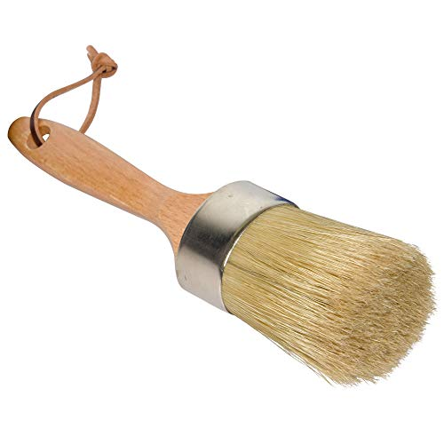 Chalk and Wax Paint Brush, Large 2-in-1 Round Natural Bristles Painting Tool for DIY Furniture, Stencils, Home Decor, Wood Projects, Wax Finishing