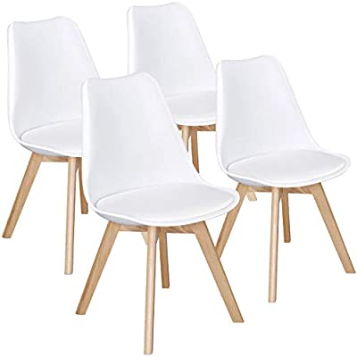 Yaheetech Dining Chairs DSW Chair Tulip Chair Shell PU Side Chair with Beech Wood Legs Modern Mid Century Eiffel Inspired Chair Upholstered Dining Room Living Room Bedroom Kitchen Chairs White,4Pcs - Selected materials of the kitchen chairs: The retro white chair is made from durable PP, PU, good sponge and solid beechwood with coating. The selected materials are harmless and provide the chairs with a long-time service life. Maximum weight capacity: The maximum load-bearing capacity of each coffee chair is 130 kg / 286.6 lb. For your safety, please do not stand on the chair or put overweight items on the chair. Ergonomically curved backrest: To improve the comfort, the backrest is designed in a curved shape to better fit in your body. You won't feel tired or stiff even though you sit for a long time. - kitchen-dining-room-furniture, kitchen-dining-room, kitchen-dining-room-chairs - 41XkrbVg7gL. SS400  -