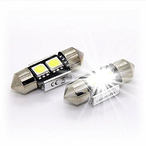 Muchkey® 2 × 30 mm LED Festoon Blanc éclairage Intérieur Intérieur Intérieur de voiture Festoon C5 W Feston Soffite 5050 SMD Puce (Blanc)