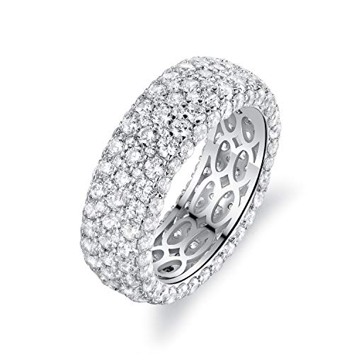 Barzel 18k White Gold Plated Cubic Zirconia Eternity Band Ring Wide Band Statement Cocktail Jewelry (White Gold Wide, 8)