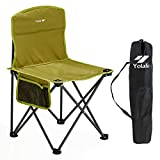 Small Folding Camping Chair Lightweight Seat Portable Stool for Adults Mountaineering Adventure Hiking Fishing Beach Picnic Party Gardening with Carry Bag, Green