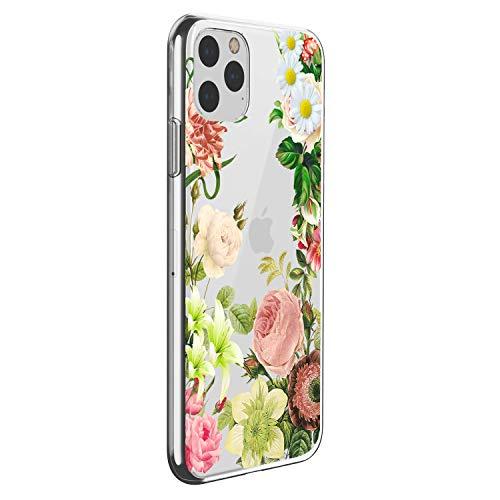 Oihxse Mandala Motif Case Compatible pour iPhone 12 6.1'' 2020 Coque Transparente Silicone TPU Souple Protection Etui Ultra Slim Mehndi Floral Datura Dentelle Housse Bumper (A13)