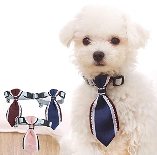 3 corbatas para el cuello ajustables para perro, pajaritas, para el cuello, lazos para el cuello, lazos, con campana, para perros pequeños o cachorros, fotografía, fiesta, festival, boda, disfraces