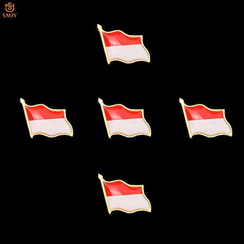 SFDGBTH 5 uds, Broche de Bandera Pintada esmaltada de Indonesia, Emblema Nacional asiático, Pin de Solapa, joyería chapada en Metal, colección de Insignias de Recuerdo