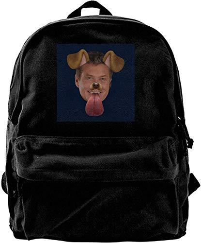 Homebe Canvas Backpack David Hasselhoff Dog Snapchat Filter Rucksack Gym Hiking Laptop Shoulder Bag Daypack for Men Women