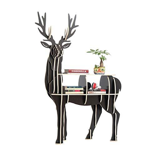 Librero Estantería para Libros Reserva moderna simple estante de madera creativa Asamblea Elk Librero Inicio muebles for la sala del gabinete del organizador del almacenaje Creativo ( Color : Black )