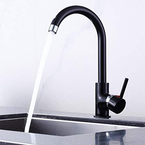 Grifo de cocina negro giratorio 360°, grifo de cocina, grifo para fregadero en forma de U, grifo monomando para cocina caliente y fría