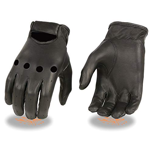 Milwaukee Leather SH247 Men's Black Unlined Leather Classic Style Driving Gloves - X-Large