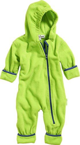 Playshoes Unisex Baby Fleece-Overall Farblich Abgesetzt, Grün (Grün 29), 92