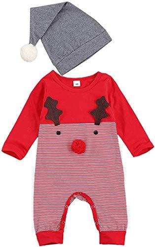 Neugeborenes Baby Mädchen Kleidung Weihnachten Strampler Bodysuit Unisex Weihnachten Herbst Winter Jumpsuit Outfit Set (Red,3-6 Monate)