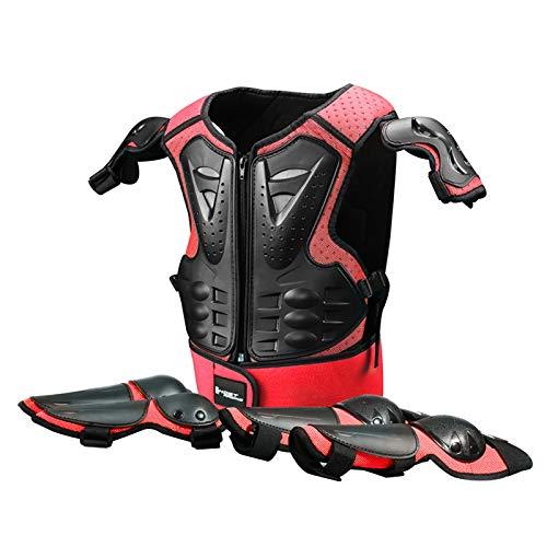 Bambini Motocross Giacca Set, 2 Gomitiere e 2 Ginocchiere, Junior Enduro Corpo Pettorina Moto Corazza, Quad Scooter Armatura Protettiva Gilet Red,One Size