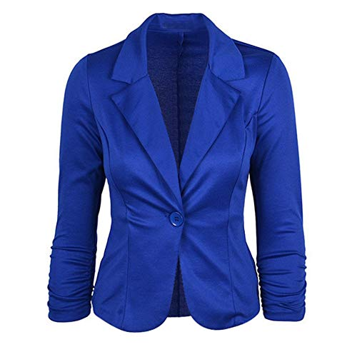 Leey Damen Blazer Mode Slim fit Einfarbig Anzugjacke Casual Revers 3/4 Ärmel Jacke Karrierter Blazer mit Eins Knopf Baumwolle Winterjacke Strickjacke Outwear Coat Business Party Kurze Mantel
