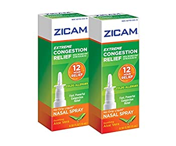 Zicam Extreme Congestion Relief No-Drip Liquid Nasal Spray with Soothing Aloe Vera 0.5 Ounce  Pack of 2