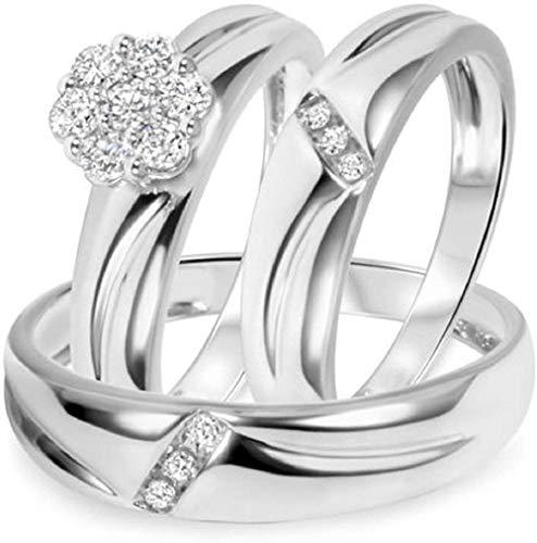 Triostar Juego de anillos de boda de oro blanco de 14 K sobre plata de 1/2 CT. T.W
