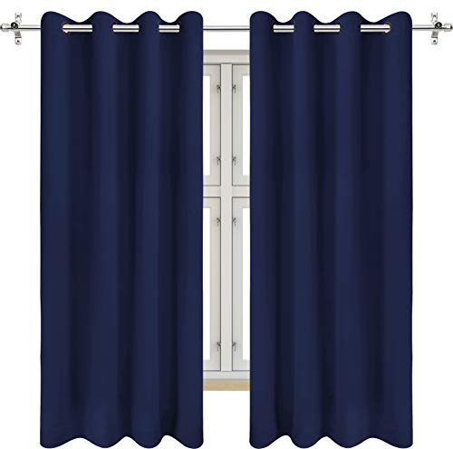 Utopia Bedding 2 Panels Grommet Blackout Curtains Thermal Insulated for Bedroom, W52 X L63 Inches, Navy