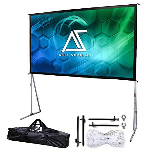 Akia Screens 145 inch Portable Outdoor Projector Screen with Stand and Bag 16:9 8K 4K Ultra HD 3D Adjustable Height Foldable Projection Screen Silver for Movie Video Home Theater AK-OS145H1