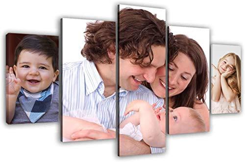 LaboratorioRadice Quadro Personalizzato con 3 Foto su Tela Diviso su 5 Pannelli in Legno - Idea Regalo Set Jolly cm. 70x130 Personal