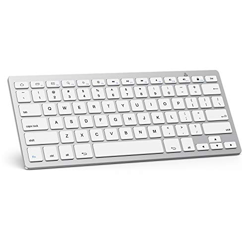 OMOTON Tablet Keyboard for Tab A 10.1/8.0 2019, Ultra-Slim Bluetooth Keyboard for Samsung Galaxy Tab S7 Plus/Tab S7/ Tab S6 Lite/ A7, Galaxy Note Series and More Bluetooth Enabled Devices, White