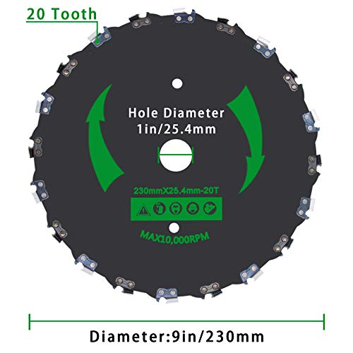 CZS 9 Inch 20T Chainsaw Tooth Brush Blades for Cutter, Trimmer, Weed Eater, Lawnmower (2 Pack Different Adapter Kit Included)